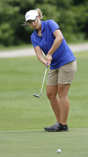 Chelby Mansel of Walters High School putts on #9 green during Girl's Class 2A State Golf Tournament at Trosper Park Golf Course on Wednesday, May 2,  2012.    Photo by Jim Beckel, The Oklahoman