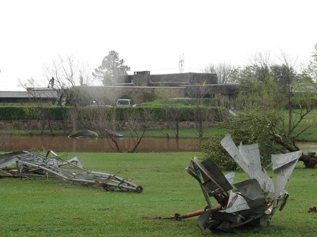 Nothing left of this windmill but twisted metal. Top has been torn off the power of the tornado. Taken on Morgan Rd. near Memorial.<br/><b>Community Photo By:</b> Walter Mullican<br/><b>Submitted By:</b> walter, Oklahoma City