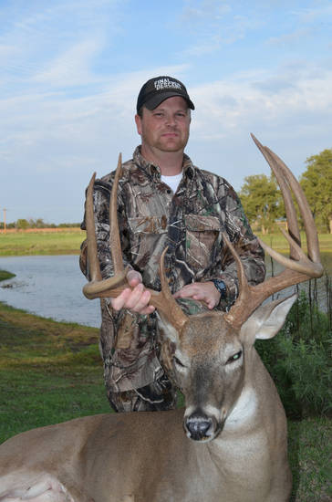 Paul Powers of Duncan bagged a big buck on Monday's opening day of archery season. Powers, a member of the pro staff of Final Descent Outdoors, arrowed the buck in Stephens County after getting trail camera photos of the buck since August. Deer archery season continues through Jan. 15.  <strong>Photo provided</strong>