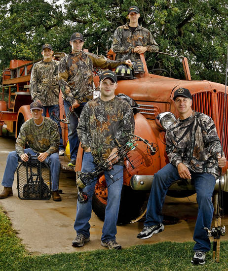 Local firefighters, from left, Trent Wood, Bo Cocannouer, Justin Howard, Brian Magee, Caleb Swickey and Chris Walls are behind a show called �Fired Up Outdoors.� Photo by Chris Landsberger, The Oklahoman