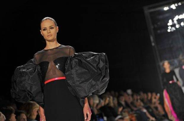 The Chado Ralph Rucci Spring 2013 collection is modeled during Fashion Week in New York, Sunday Sept 9, 2012. (AP Photo/Stephen Chernin)