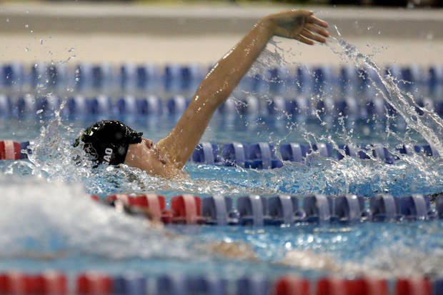 Norman North's Joseph Gao swims in the Boy's 200-yard IM meet at  Oklahoma City Community College, Friday, Feb. 17, 2012. Photo by Sarah Phipps, The Oklahoman