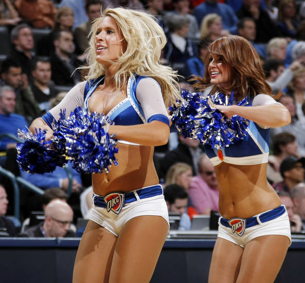 The Thunder Girls dance team performs during the NBA basketball game between the Dallas Mavericks and the Oklahoma City Thunder at the Oklahoma City Arena in Oklahoma City, Monday, Dec. 27, 2010. Dallas won, 103-93. Photo by Nate Billings, The Oklahoman