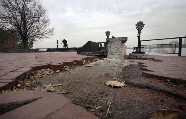 Parts of the brick walkway of Liberty Island that were damaged in Superstorm Sandy were shown during a tour, in New York,  Friday, Nov. 30, 2012. Tourists in New York will miss out for a while on one of the hallmarks of a visit to New York, seeing the Statue of Liberty up close. Though the statue itself survived Superstorm Sandy intact, damage to buildings and Liberty Island&#039;s power and heating systems means the island will remain closed for now, and authorities don&#039;t have an estimate on when it will reopen. (AP Photo/Richard Drew)