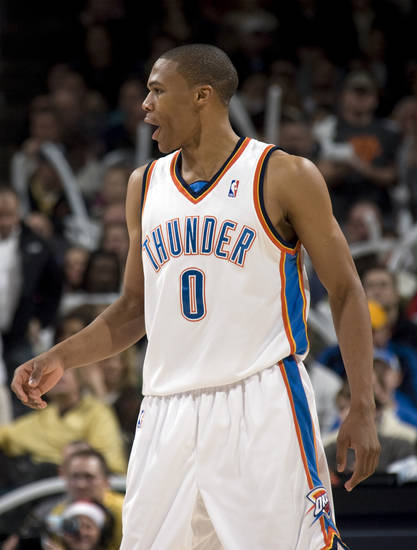 Oklahoma City's Russell Westbrook (0) celebrates a Thunder score during the NBA game between the Oklahoma City Thunder and Cleveland Cavaliers, Sunday, Dec. 21, 2008, at the Ford Center in Oklahoma City. PHOTO BY SARAH PHIPPS, THE OKLAHOMAN