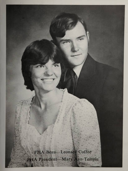 Mary Ann Temple-Lee and Leonard Coffee are shown in a photo from their high school yearbook.