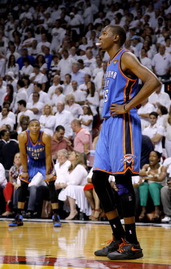 Oklahoma City's Kevin Durant (35) looks up after an Oklahoma City foul late in  Game 4 of the NBA Finals between the Oklahoma City Thunder and the Miami Heat at American Airlines Arena, Tuesday, June 19, 2012. Oklahoma City lost 104-98.  Photo by Bryan Terry, The Oklahoman