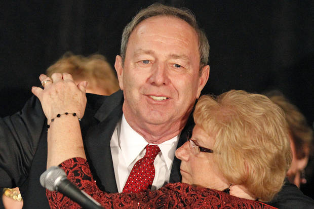 Tom Smith, Pennsylvania Republican candidate for the U.S. Senate hugs his wife Saundy after conceding to U.S. Sen. Bob Casey, D-Pa., at his election night party in Pittsburgh Tuesday, Nov. 6, 2012. (AP Photo/Gene J. Puskar)