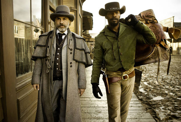 Christoph Waltz, left, stars as Schultz and Jamie Foxx as Django in the Oscar-winning film �Django Unchained,� written and directed by Quentin Tarantino. The film will receive the Outstanding Theatrical Motion Picture prize at the Wrangler Awards in April in Oklahoma City. AP Photo