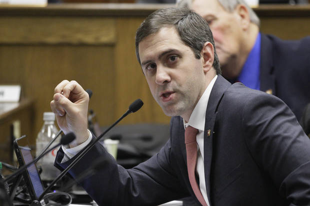Rep. Greg Leding, D-Fayetteville, asks a question during a meeting of the House Committee on Public Health, Welfare and Labor at the Arkansas state Capitol in Little Rock, Ark., Thursday, Jan. 31, 2013. A bill dealing with abortion received the committee's approval. (AP Photo/Danny Johnston)