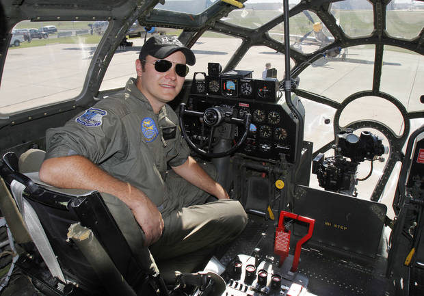 Pilot David Oliver sits in the cockpit of the last airworthy B-29 Superfortress after it flies into Wiley Post Airport in Oklahoma City, OK, Tuesday, October 2, 2012. It will be on exhibit for six days at Wiley Post Airport.  By Paul Hellstern, The Oklahoman