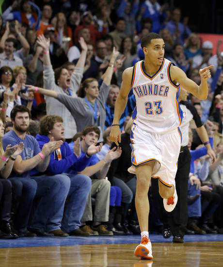 Oklahoma City's Kevin Martin (23) reacts after a basket during an NBA basketball game between the Oklahoma City Thunder and the Dallas Mavericks at Chesapeake Energy Arena in Oklahoma City, Thursday, Dec. 27, 2012.  Oklahoma City won 111-105. Photo by Bryan Terry, The Oklahoman