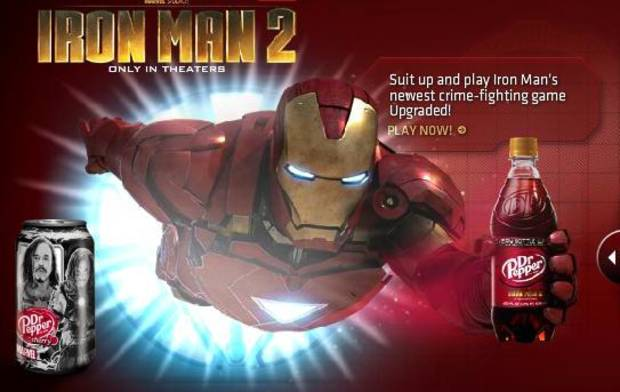 Iron Man in a promotional image from the Dr Pepper Website.