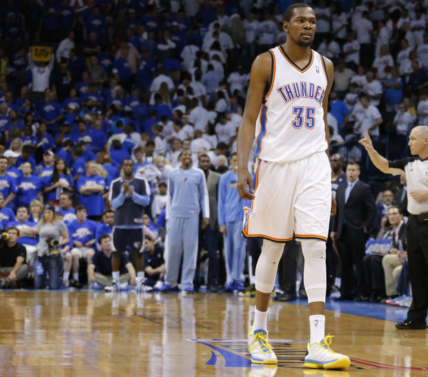 Oklahoma City's Kevin Durant (35) walks towards the bench in the final minutes of Game 2 in the second round of the NBA playoffs between the Oklahoma City Thunder and the Memphis Grizzlies at Chesapeake Energy Arena in Oklahoma City, Tuesday, May 7, 2013. Oklahoma  City lost 99-93. Photo by Bryan Terry, The Oklahoman
