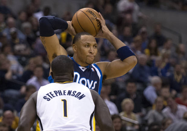 Dallas Mavericks' Shawn Marion, top, looks for help as Indiana Pacers' Lance Stephenson defends during first-half action of an NBA basketball game in Indianapolis, Friday, Nov. 16, 2012. (AP Photo/Doug McSchooler)