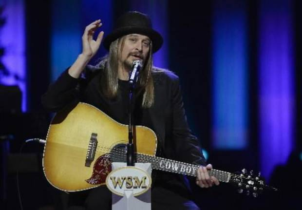 Kid Rock speaks during the funeral for country music star George Jones in the Grand Ole Opry House on Thursday, May 2, 2013, in Nashville, Tenn. Jones, one of country music's biggest stars who had No. 1 hits in four separate decades, died April 26. (AP)