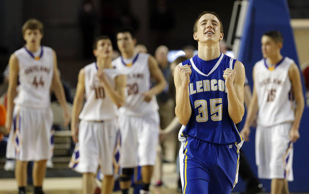 Glencoe's Ty Lazenby celebrates following the Class A boys state championship between Glencoe and Weleetka  at the State Fair Arena.,  Saturday, March 2, 2013. Photo by Sarah Phipps, The Oklahoman