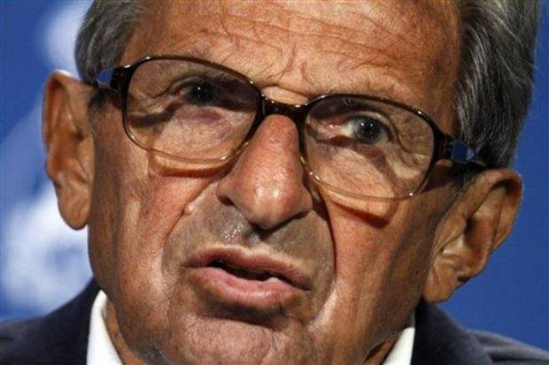 Penn State head coach Joe Paterno during football media day in State College, Pa., Thursday, Aug. 12, 2010. (AP Photo/Gene J. Puskar)
