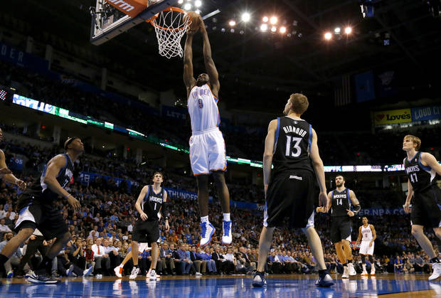 Oklahoma City's Serge Ibaka (9) dunks the ball during an NBA basketball game between the Oklahoma City Thunder and the Minnesota Timberwolves at Chesapeake Energy Arena in Oklahoma City, Wednesday, Jan. 9, 2013.  Photo by Bryan Terry, The Oklahoman