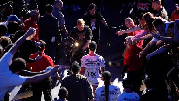 Fans reach out to Roger Huerta as he enters the arena before his UFC Fight Night at the Cox Convention Center in Oklahoma City, Wednesday, September 16, 2009.  Photo by Bryan Terry, The Oklahoman