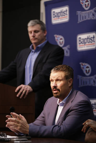 "Tennessee Titans new senior defensive assistant Gregg Williams, seated, talks with reporters during a news conference, Thursday, Feb. 7, 2013, in Nashville, Tenn.  At left is Titans head coach Mike Munchak. Williams thanked NFL Commissioner Roger Goodell for reinstating him and he also apologized while taking ""full responsibility"" for his role in the New Orleans Saints' bounty scandal. The NFL reinstated Williams on Thursday morning, and the Titans hired him. (AP Photo/Mark Humphrey)"