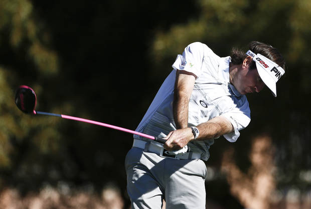 Bubba Watson tees off on the fifth hole during the second round of the Waste Management Phoenix Open golf tournament on Friday, Feb. 1, 2013, in Scottsdale, Ariz.(AP Photo/Ross D. Franklin)