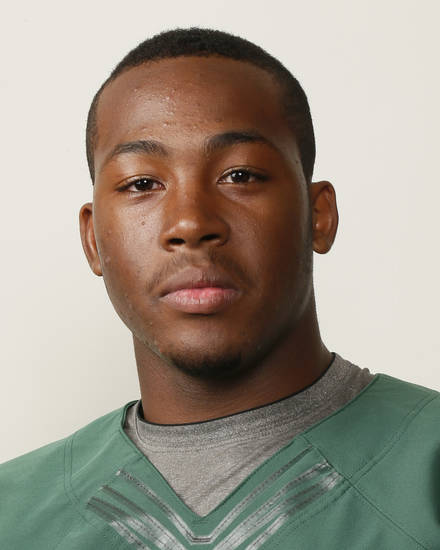 Alvin Bazley, Edmond Santa Fe football player, poses for a mug shot during The Oklahoman's Fall High School Sports Photo Day in Oklahoma City, Wednesday, Aug. 15, 2012. Photo by Nate Billings, The Oklahoman
