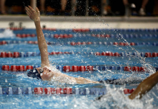 Edmond North's Ford Mitchell swims in the Boy's 200-yard IM during the state championship swim meet at  Oklahoma City Community College, Friday, Feb. 17, 2012. Photo by Sarah Phipps, The Oklahoman
