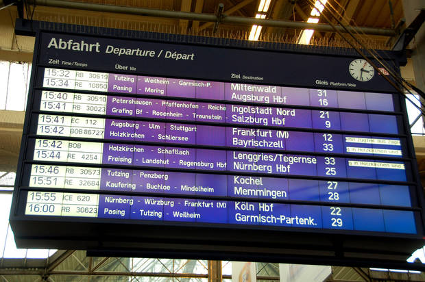 Schedule boards in European train stations have all the information you need to be on your way: departure times, routing, destinations, and track numbers.  (photo credit: Cameron Hewitt)