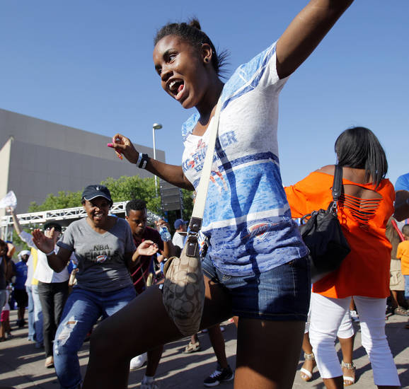 Aundrea Jones, 17, dances in Thunder Alley before Game 1 of the NBA Finals between the Oklahoma City Thunder and the Miami Heat at Chesapeake Energy Arena in Oklahoma City, Tuesday, June 12, 2012. Photo by Nate Billings, The Oklahoman