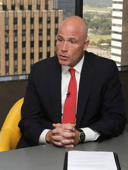 SandRidge Energy's new CEO, James Bennett, talks about the company and his new position at the company's headquarters in Oklahoma City, OK, Thursday, June 27, 2013,  Photo by Paul Hellstern, The Oklahoman