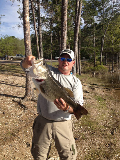 Greg Blaylock of Norman with a 10.4-pound largemouth bass from Broken Bow Lake