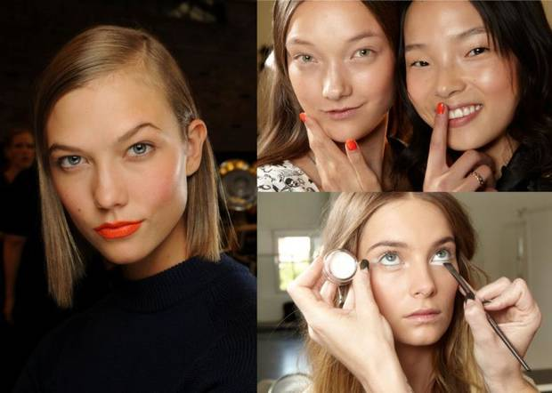 Straight from backstage, Maybelline New York reports the latest beauty trends you'll want to wear this spring: orange lips and nails, white eyes, nude nails, metallic sheen and no fuss makeup. (PRNewsFoto/Maybelline New York)