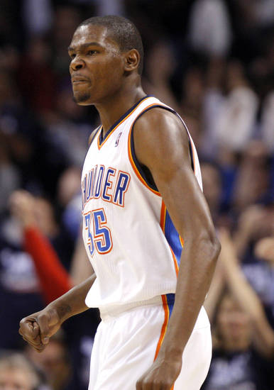 Oklahoma City's Kevin Durant (35) celebrates a Thunder basket during the NBA basketball game between the Denver Nuggets and the Oklahoma City Thunder in the first round of the NBA playoffs at the Oklahoma City Arena, Wednesday, April 27, 2011. Photo by Sarah Phipps, The Oklahoman