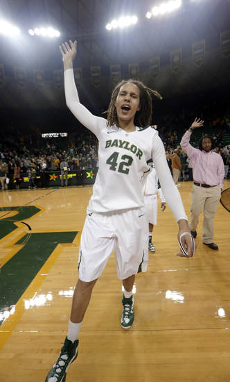 Baylor's Brittney Griner (42) celebrates after their 82-65 win over Oklahoma in an NCAA college basketball game, Saturday, Jan. 26, 2013, in Waco Texas. Griner broke the NCAA women's career record for blocks. (AP Photo/LM Otero) ORG XMIT: TXMO118