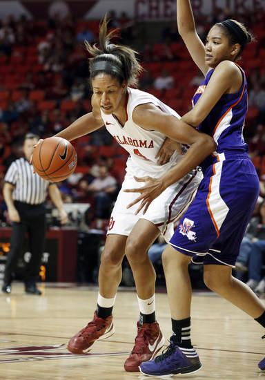 Oklahoma Sooners' Nicole Griffin (4) drives around Northwestern State Lady Demons' Breanna Fuller (11) as the University of Oklahoma (OU) Sooner women's basketball team plays the Northwestern State Lady Demons at the Lloyd Noble Center on Thursday, Nov. 29, 2012  in Norman, Okla. Photo by Steve Sisney, The Oklahoman
