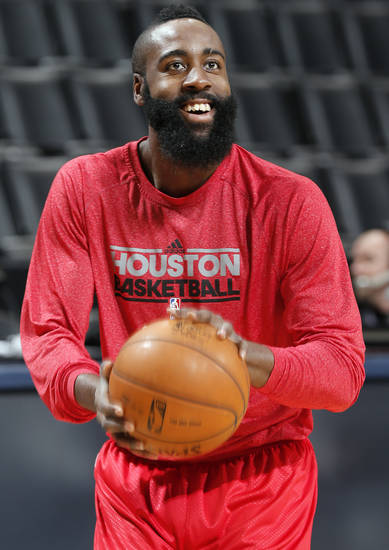 Houston's James Harden (13) warms up in shoot around during the NBA basketball game between the Houston Rockets and the Oklahoma City Thunder at the Chesapeake Energy Arena on Wednesday, Nov. 28, 2012, in Oklahoma City, Okla.   Photo by Chris Landsberger, The Oklahoman