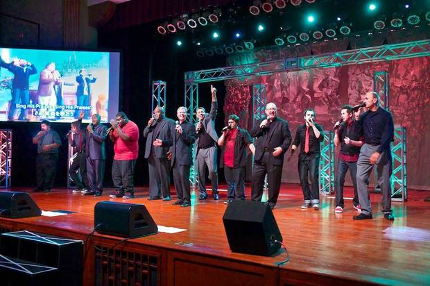 Members of Acapella Classic and the current Acappella group perform together. Photo provided <strong></strong>
