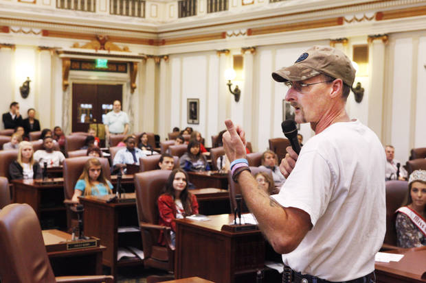 Kirk Smalley, with Stand for the Silent, speaks during a  rally held to raise awareness about bullying in the House chambers at the state Capitol, Friday, May 11, 2012. Photo By David McDaniel/The Oklahoman