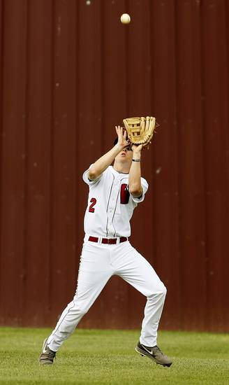 Weatherford's Brady Boyd (2) catches a fly ball during a Class 4A high school baseball game between Tuttle and Weatherford in the state tournament at Edmond Memorial in Edmond, Okla.,  Thursday, May 9, 2013. Photo by Nate Billings, The Oklahoman