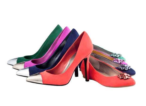 "Style expert Stacy London touts shoes as ""game changers"" for basic outfits in her newest book ""The Truth About Style."" Shown: Mossimo Women's colorful pumps and jeweled flats. (www.target.com)"
