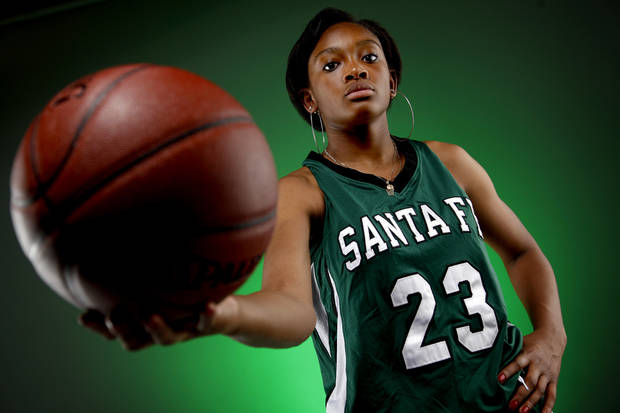 GIRLS HIGH SCHOOL BASKETBALL: Big All-City Player of the Year Courtney Walker of Edmond Santa Fe, Friday, Aoril 1, 2011. Photo by Bryan Terry, The Oklahoman ORG XMIT: KOD