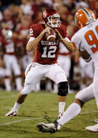 Landry Jones (12) throws during the second half of the college football game between the University of Oklahoma Sooners (OU) and Florida A&M Rattlers at Gaylord Family�Oklahoma Memorial Stadium in Norman, Okla., Saturday, Sept. 8, 2012. Photo by Steve Sisney, The Oklahoman