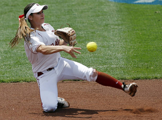 Sooner shortstop Jessica Vest makes a throw to second at the Norman Regional of the 2013 NCAA Division I Softball Women's College World Series as the University of Oklahoma (OU) Sooners play the Arkansas Razorbacks at Marita Hines Field on Saturday, May 18, 2013  in Norman, Okla. Photo by Steve Sisney, The Oklahoman