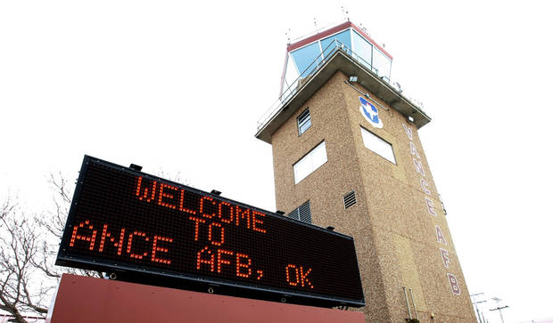 Sign on the flight line welcoming pilots to Vance Air Force Base in Enid, Friday, February 5, 2010.  Goes with a Randy Ellis story on security at Vance Air Force Base. Photo by David McDaniel, The Oklahoman