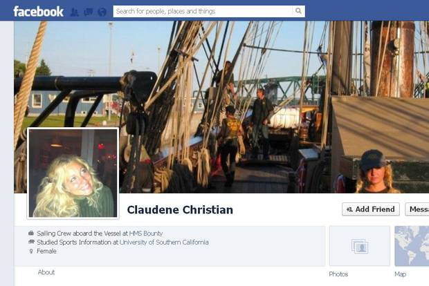 Claudene Christian's Facebook page shows her on the HMS Bounty and discusses her relationship with the tall ship.