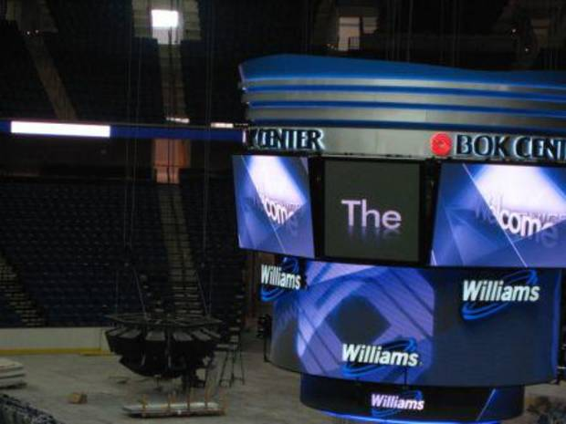 upclose look at BOK Center scoreboard
