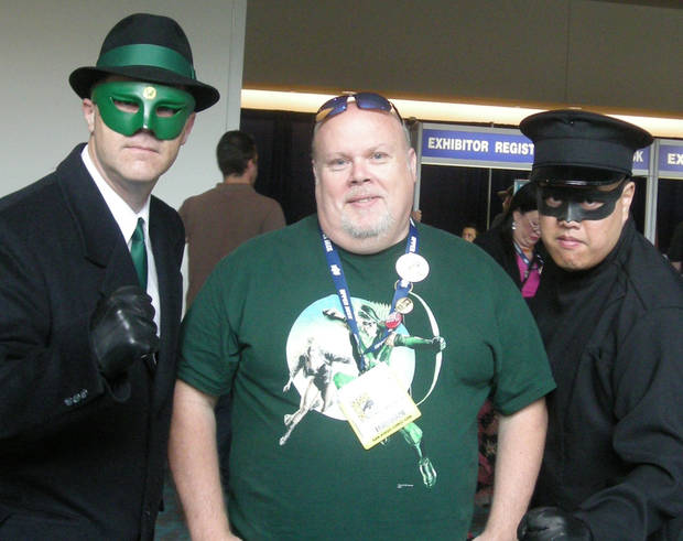 Mel Odom, center, with Green Hornet and Kato at Comic-Con International.  Photo by Shiloh Odom.