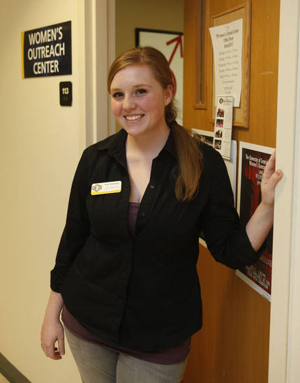 Tess Bromme is the student coordinator for the UCO Women's Outreach Center on the campus of the University of Central Oklahoma in Edmond, OK, Monday, February 11, 2013,  By Paul Hellstern, The Oklahoman