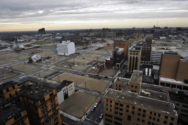 This photo shows an area of in Detroit being considered for development, on Tuesday, Dec. 4, 2012. Detroit Red Wings owner Mike Ilitch is planning a $650 million multiuse development in downtown Detroit that includes a new home for his hockey team, it was announced Tuesday. Ilitch said he&#039;s proposing a &quot;substantial investment in the development of a new residential, retail, office and entertainment district in downtown Detroit.&quot; (AP Photo/Detroit News, John T. Greilick)  DETROIT FREE PRESS OUT; HUFFINGTON POST OUT
